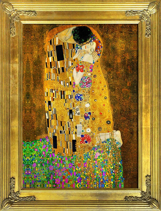 gustav klimt der kuss leinwand rahmen kunstdruck 109x78cm ebay. Black Bedroom Furniture Sets. Home Design Ideas